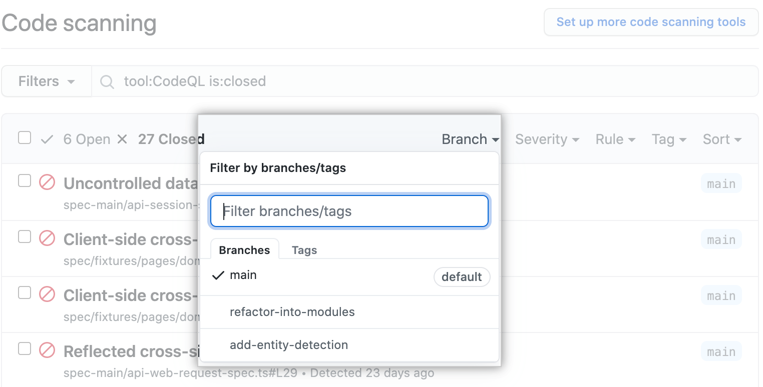 Filtering alerts by branch