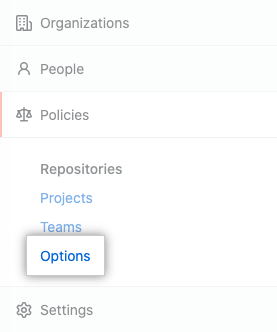 Options tab in the enterprise account settings sidebar