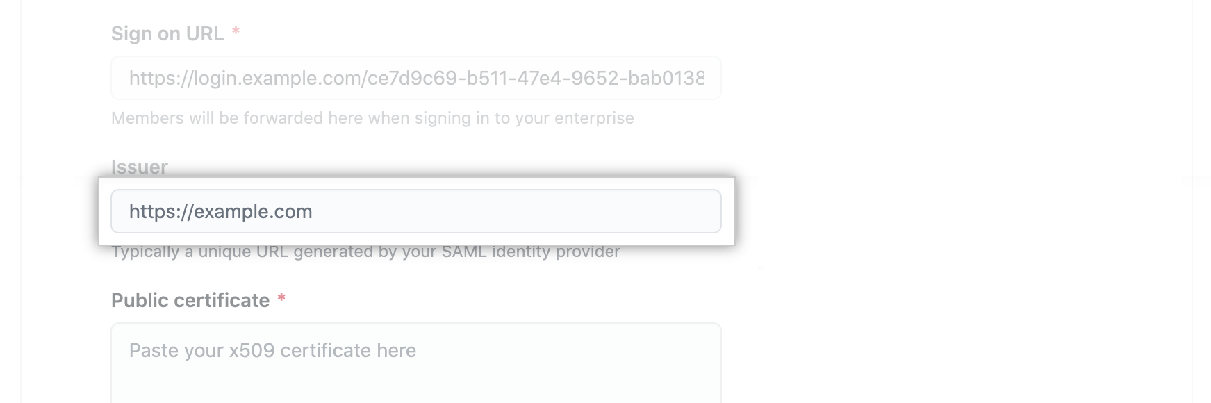 Text field for SAML IdP's issuer URL