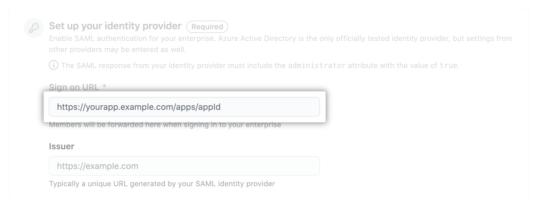 Text field for SAML IdP's sign-on URL