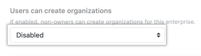Drop-down menu for organization creation permissions options