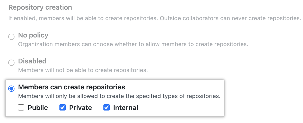 """Members can create repositories"" button for enterprise policies configuration"