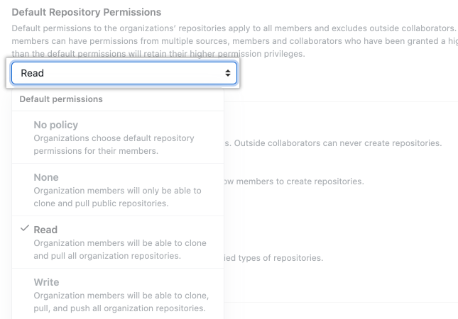 Drop-down menu for default repository permissions options