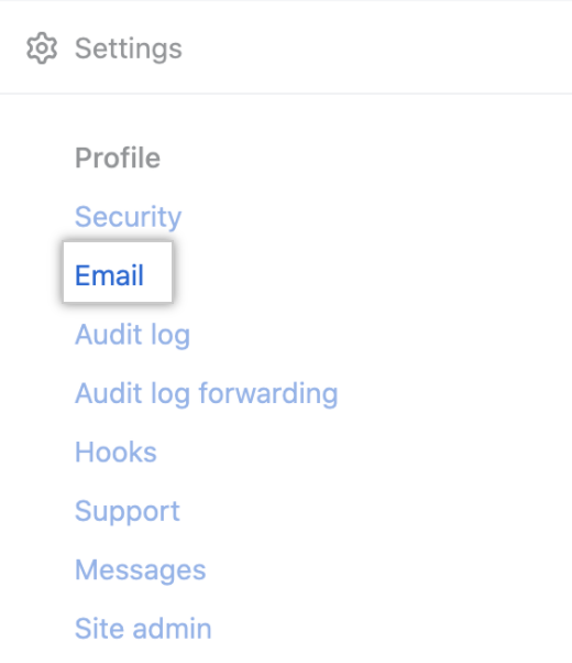 Email tab in the enterprise account sidebar