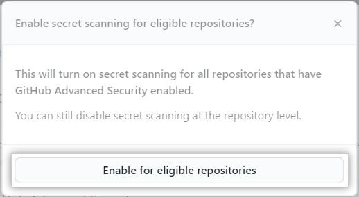 Button to enable feature for all the eligible repositories in the organization
