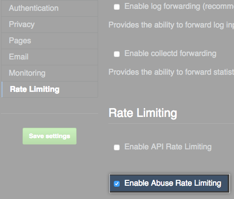 Abuse Rate Limiting checkbox