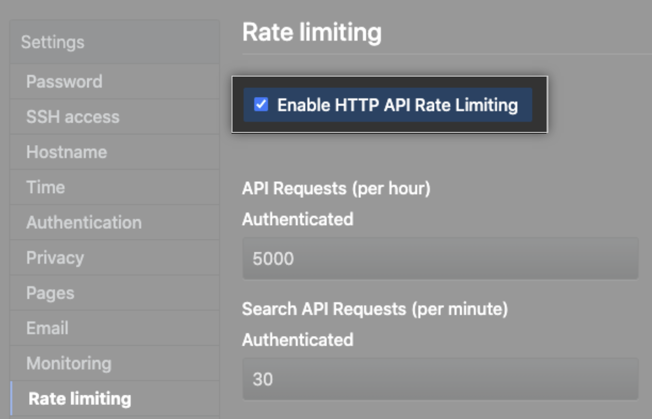 API Rate Limiting checkbox