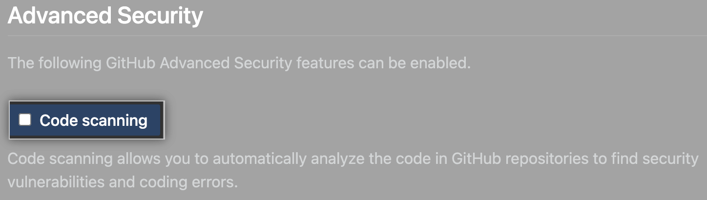 Checkbox to enable or disable code scanning