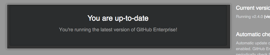 Banner indicating your release of GitHub Enterprise Server