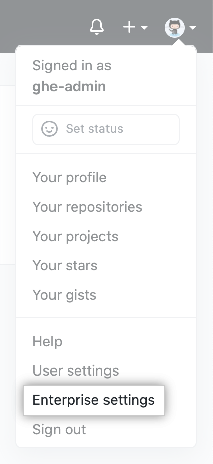 """Enterprise settings"" in drop-down menu for profile photo on GitHub Enterprise Server"
