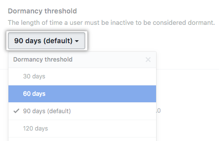 The Dormancy threshold drop-down menu