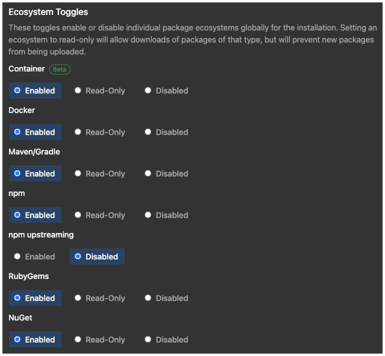 Ecosystem toggles
