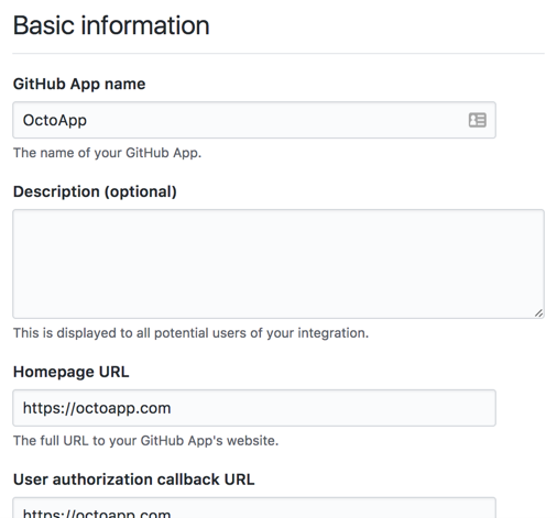 Basic information section for your GitHub App