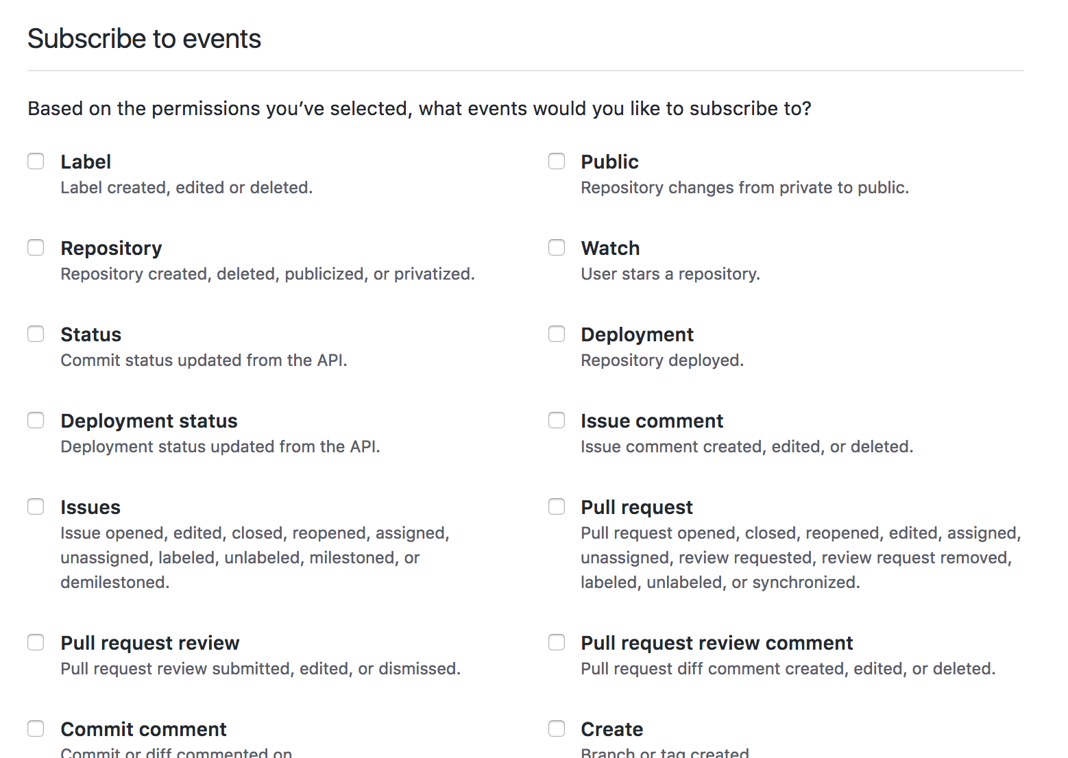 Permissions selections for subscribing your GitHub App to events