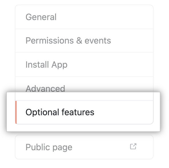 Optional features tab