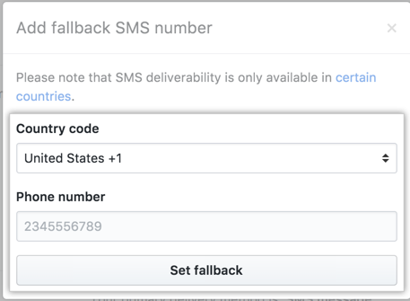 Set fallback SMS number