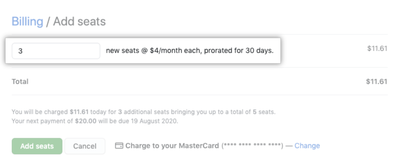 Add seats input