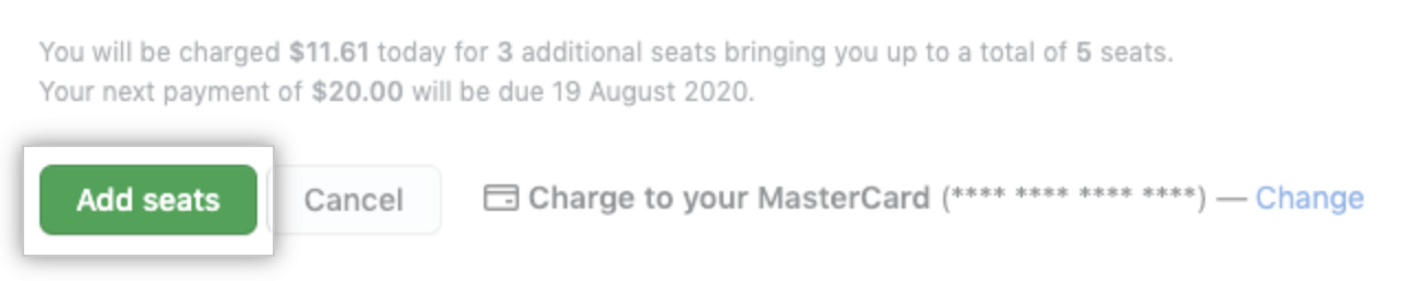Add seats button in billing settings