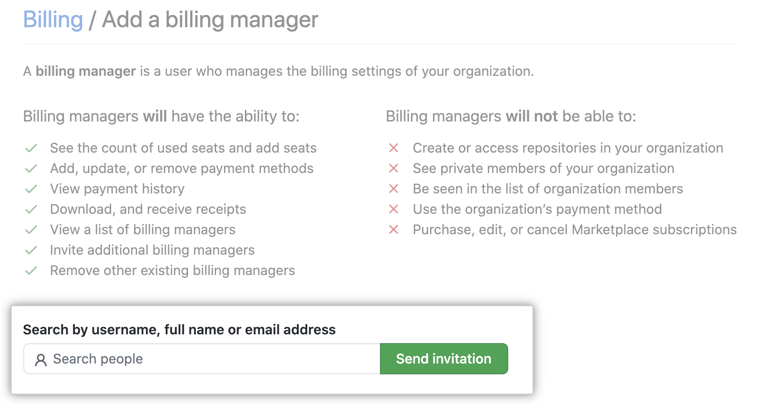 Invite billing manager page