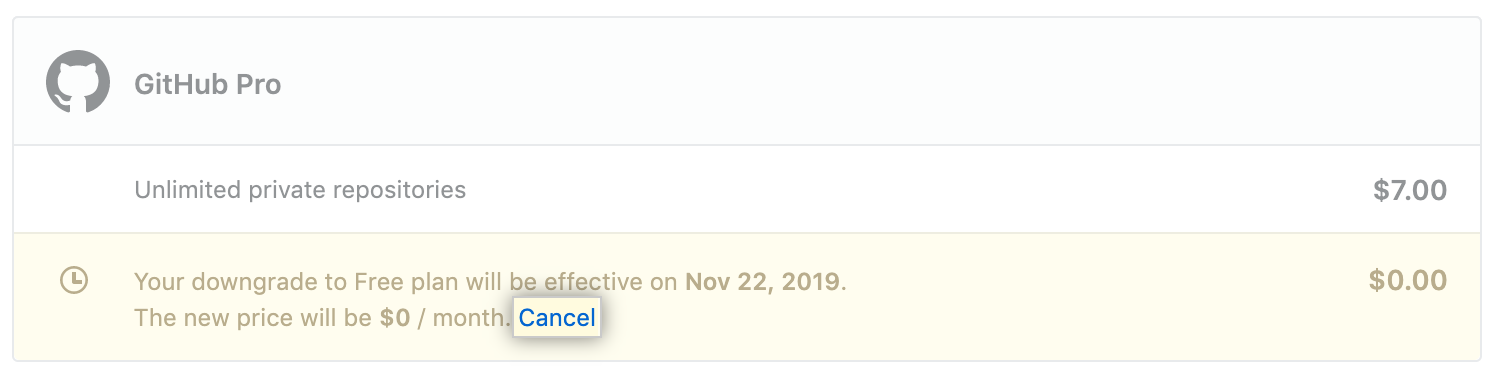 Cancel link next to a pending plan or subscription change