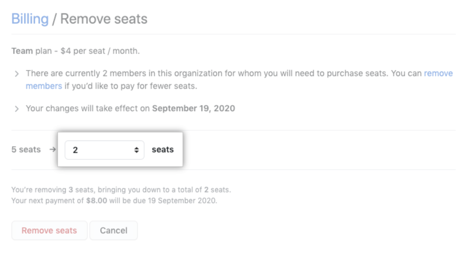remove seats option