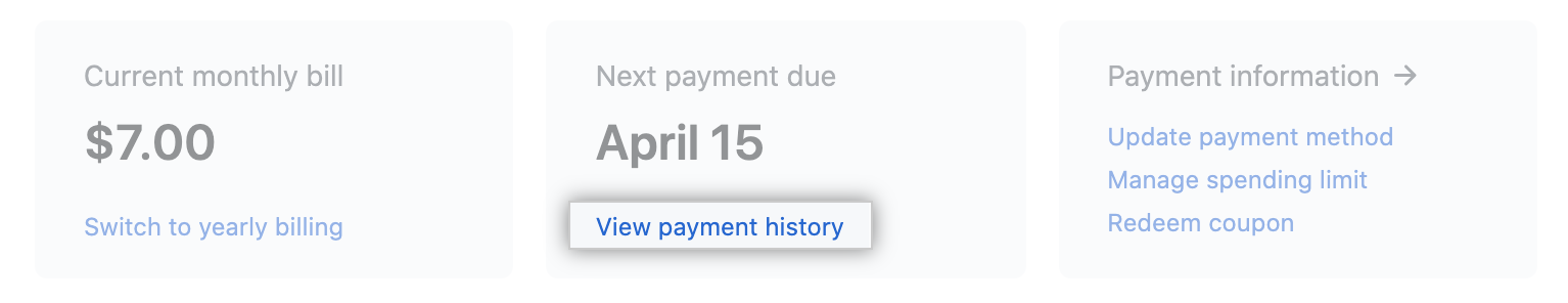 View payment history link