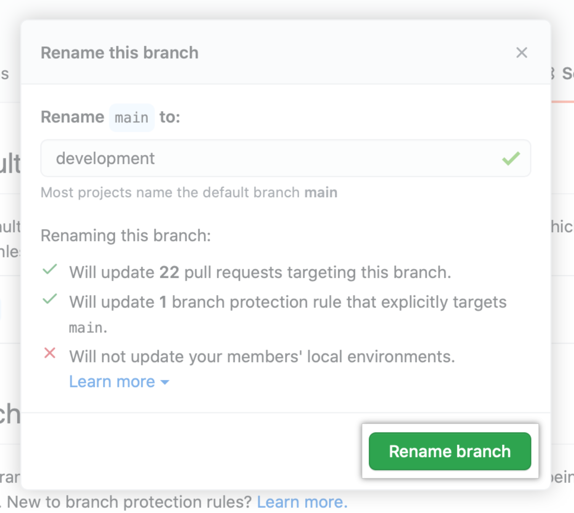 "Local environment information and ""Rename branch"" button"