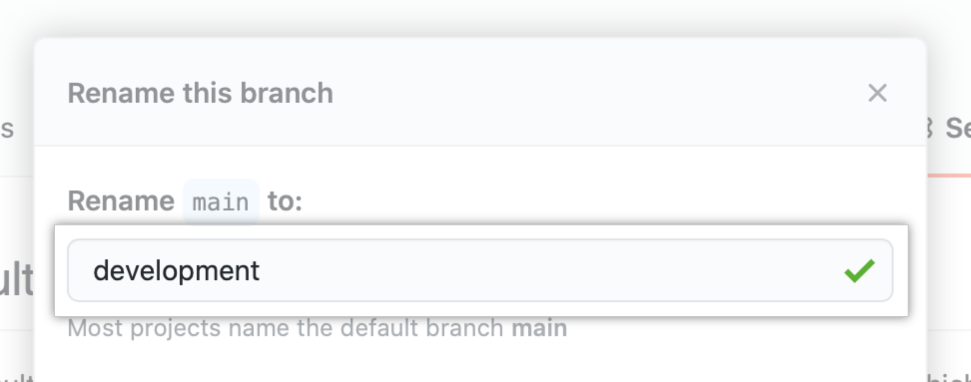 Text field for typing new branch name