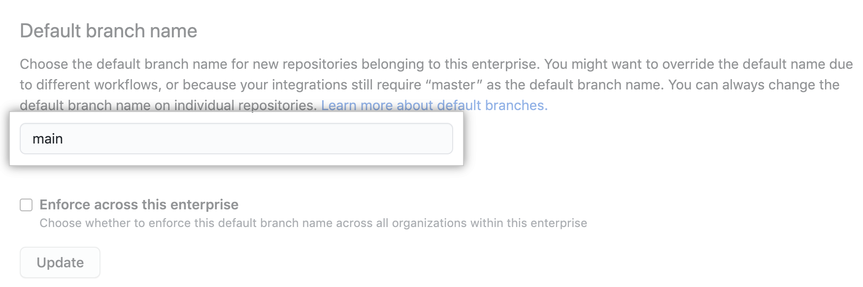 Text box for entering default branch name