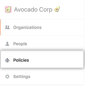 Policies tab in the enterprise account sidebar