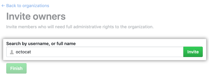 Organization owner search field and Invite button