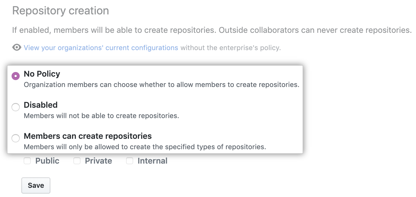 Drop-down menu with repository creation policy options