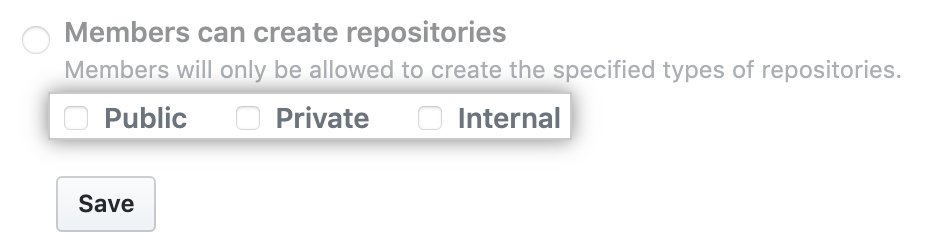 Checkboxes for repository types