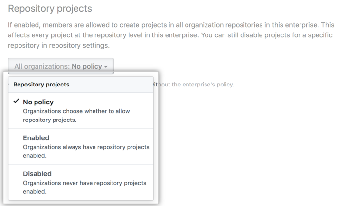 Drop-down menu with repository project board policy options