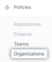 Organizations tab in the enterprise account sidebar