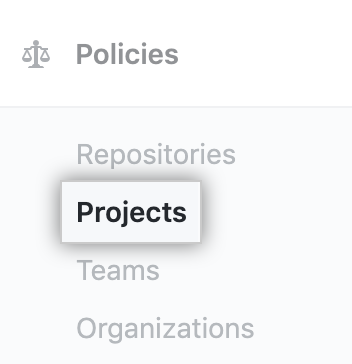 Projects tab in the enterprise account settings sidebar