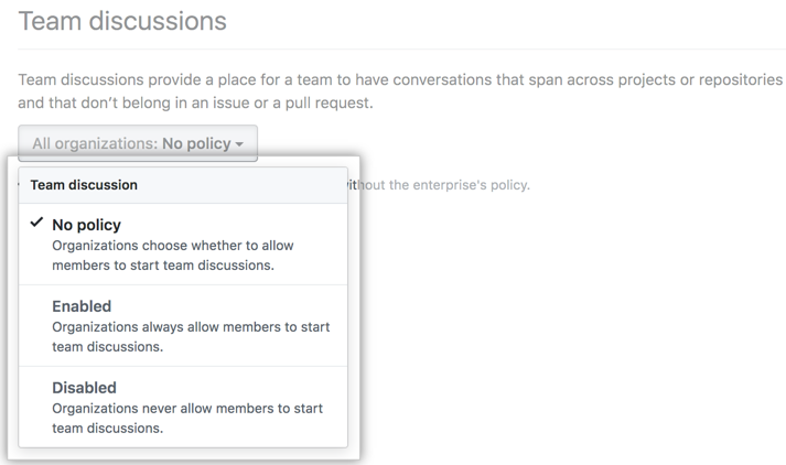 Drop-down menu with team discussion policy options