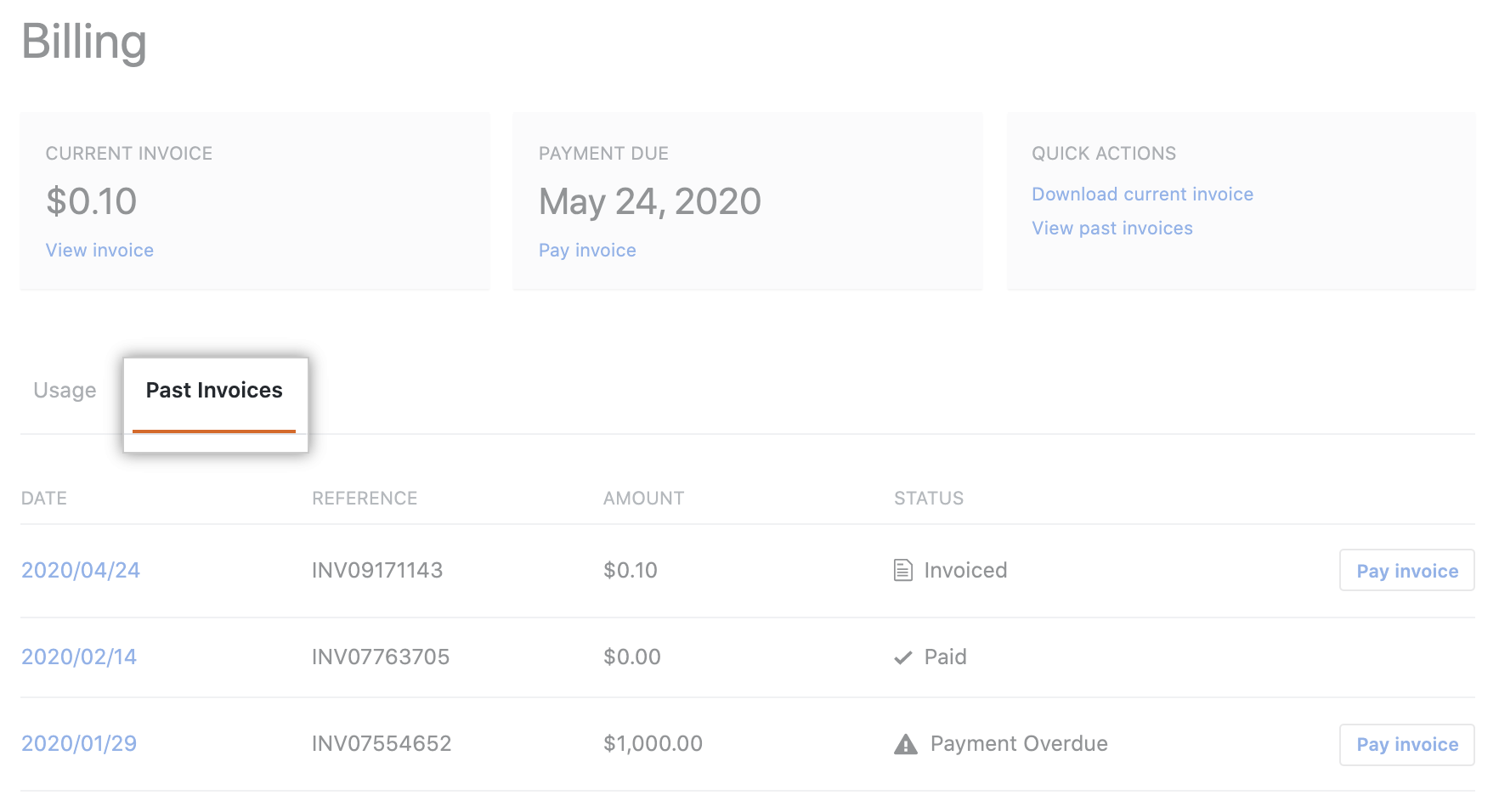 View payment history tab