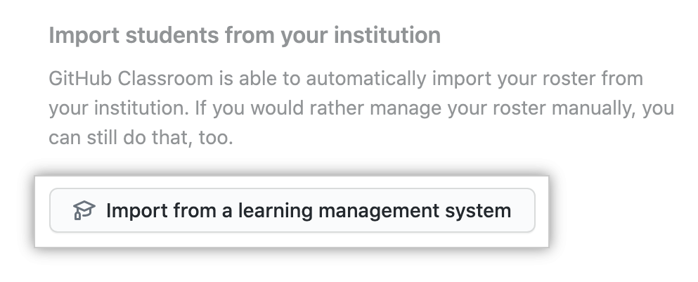 """Import from a learning management system"" button"