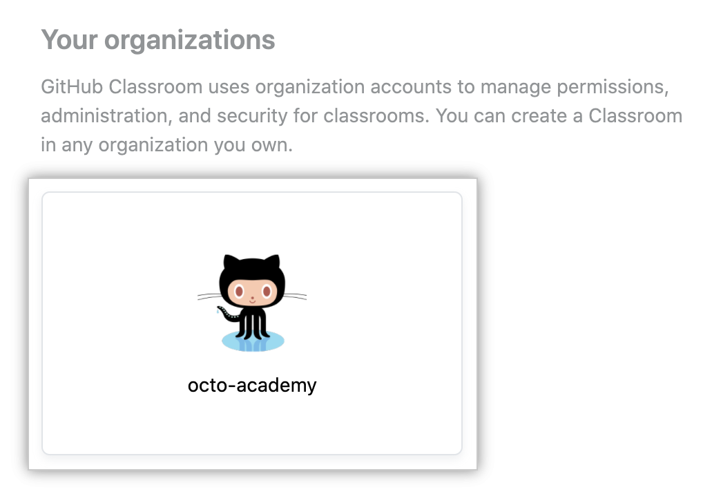 Organization in list of organizations for creating new classroom