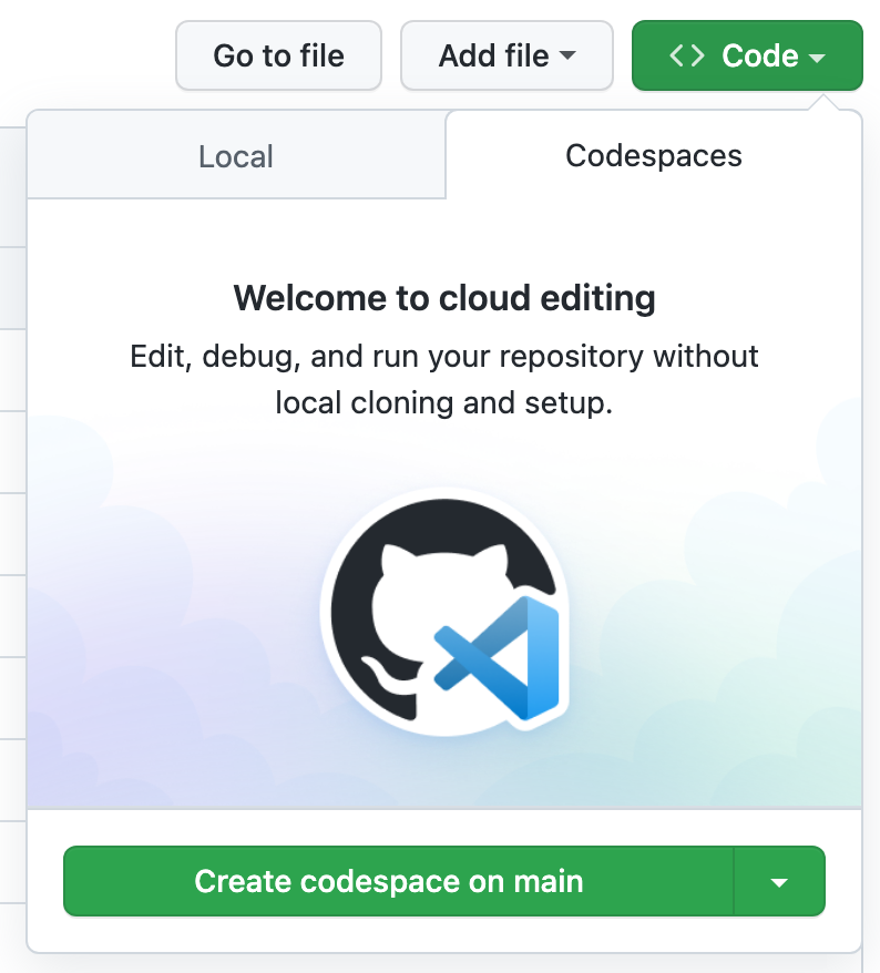 New codespace button