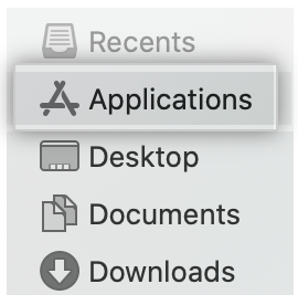 Applications folder in the Finder window