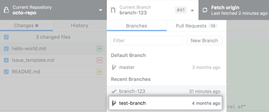 Drop-down menu to switch your current branch