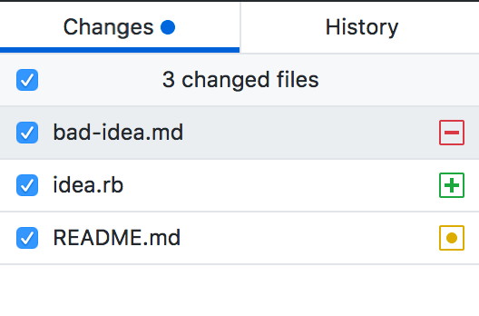 Select checkbox to commit all changed files