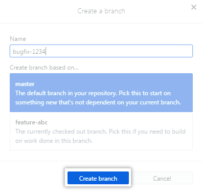 Create branch button