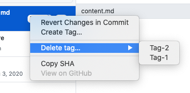 Hover over the delete tag menu