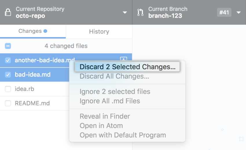 Discard Changes option in context menu