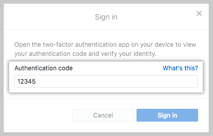 The 2FA Authentication code field