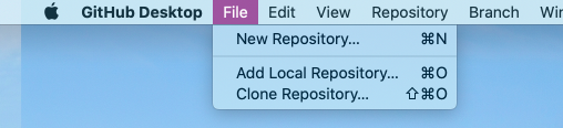 The File menu options for creating, adding, and cloning repositories