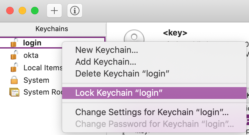"The ""Lock Keychain ""login"" option"